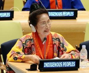 国連本部で行われた先住民族世界会議で、スピーチする糸数慶子参院議員=22日、ニューヨーク(共同)