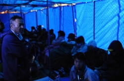 24時間態勢で座り込みが続くキャンプ・シュワブのゲート前=名護市辺野古