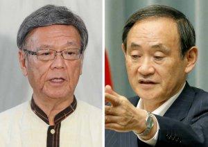 (右)記者会見する菅官房長官=26日午前、首相官邸 (左)「米国に沖縄の実情を訴える」と語る翁長知事=26日午後、県庁