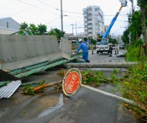 強風によって吹き飛ばされたトタン屋根と倒れた電柱=午前8時15分、石垣市美崎町(比嘉太一撮影)