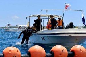 臨時制限区域内で始まった県の潜水調査=31日午後0時44分、名護市辺野古沖