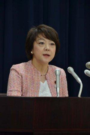 報道各社のインタビューに答える島尻安伊子沖縄担当相=28日午前、内閣府