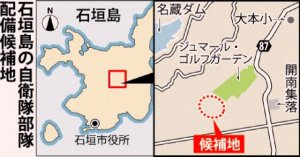石垣島の自衛隊部隊配備候補地