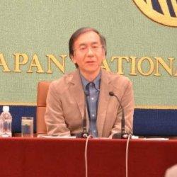 在沖米軍基地の県外移設を主張する高橋教授=2日、東京都内の日本記者クラブ