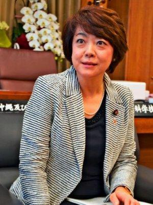 沖縄振興の重要性を語る島尻安伊子沖縄担当相=2015年12月25日、内閣府