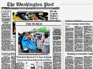 名護市辺野古の新基地建設に抵抗する沖縄の住民に視点を当てた記事を掲載した米紙ワシントン・ポストの2月8日付の紙面
