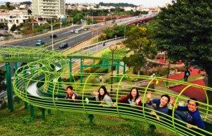長さ90メートルの滑り台で遊ぶトーマス・チャウさん(右端)ら=18日、浦添大公園
