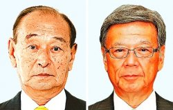 仲井真弘多氏(左)と翁長雄志氏