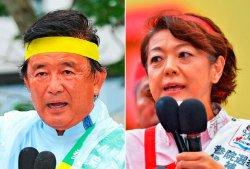 (左から)伊波洋一氏、島尻安伊子氏