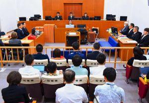 うるま市の女性殺害事件の裁判員裁判初公判が開かれた那覇地裁204号法廷=16日午前(代表撮影)