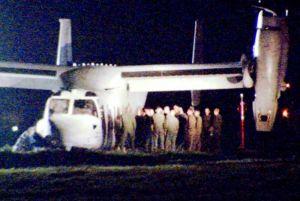 米軍普天間飛行場に胴体着陸したオスプレイ=14日午前3時半、宜野湾市(琉球朝日放送提供)