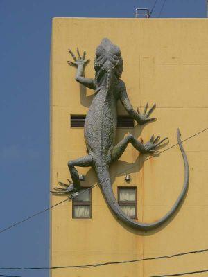 ビルの外壁に設置された「キノボリトカゲ」=沖縄県名護市城区