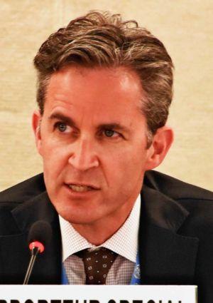 国連人権理事会で演説するデービッド・ケイ氏=12日、スイス・ジュネーブ