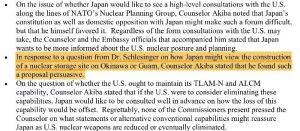 「沖縄かグアムへの核貯蔵庫の建設」に関する見解を聞かれた秋葉剛男公使(現・外務事務次官)は「そのような提案は説得力がある」と答えたことが記されている(マーカー部分)=米戦略体制委員会の概要メモから