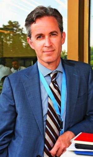 本紙単独インタビューに答える国連特別報告者のデービッド・ケイ氏=13日、スイス・ジュネーブの国連欧州本部
