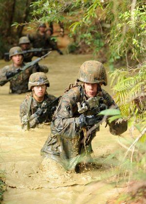 ジャングルでの戦闘を想定し、訓練する米海兵隊員=2013年、国頭村・米軍北部訓練場