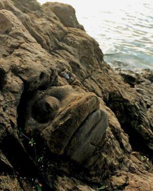 「魚(ミーバイ)にそっくり!」と平良匡さんが名付けた「ミーバイ岩」=石垣市崎枝赤崎(市観光文化課提供)