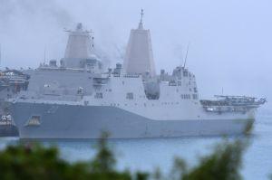 (資料写真)揚陸艦グリーン・ベイ=2017年3月、沖縄県うるま市・ホワイトビーチ