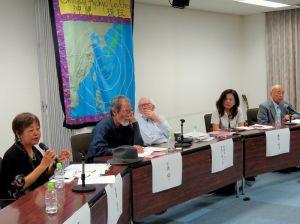 軍事のキーストーンとしての沖縄からの脱却に向けて議論を交わすパネリストら=5日、宜野湾市のぎのわんセミナーハウス
