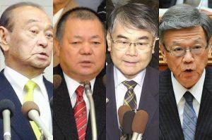 仲井真氏、稲嶺氏、島袋氏、翁長氏(左から)のコラージュ