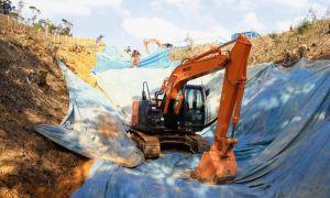 ヘリパッド建設が進むH地区=3日、東村高江・米軍北部訓練場H地区(読者提供)