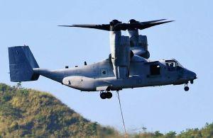 普天間飛行場に配備されている米海兵隊の同型機MV22オスプレイ=2015年11月6日、金武