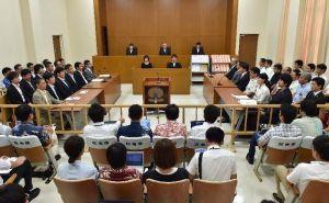 辺野古違法確認訴訟の判決が言い渡された法廷=16日午後、福岡高裁那覇支部(代表撮影)