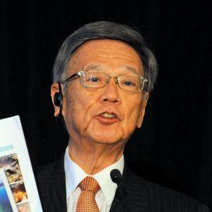 沖縄の基地問題の現状などを訴える翁長雄志知事=13日、米ワシントン