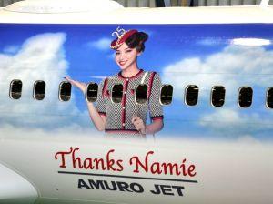 お披露目された「AMURO JET」=14日、那覇空港