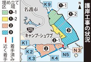 辺野古護岸工事の状況(2018年4月3日沖縄タイムスより)