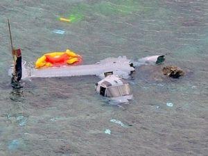 名護市安部の海岸に墜落したオスプレイ