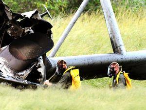 東村高江で炎上した米海兵隊ヘリ。機体の一部に放射性物質が使用されていた